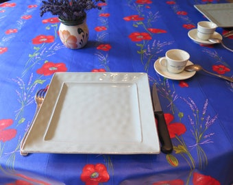 "Round tablecloth.Stain resistant and water proof. French Provence.60"" diameter or 50"" diameter.Poppies in blue"