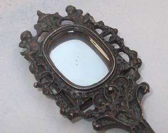 SUMMER SALE Small Vintage Hand Mirror, Cherubs, Putti, Purse Mirror, Vanity Mirror