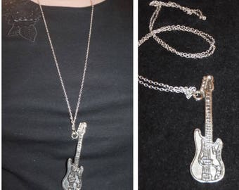Silver Guitar Pendant Necklace, Long Necklace, Art Gift, Christmas Sale,Jewelry for a Musician , Christmas Gift Ideas, best gifts ever,