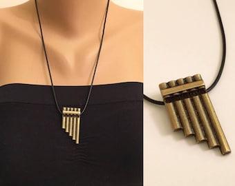 Brass Flute Necklace, Music Pendant,  Movie inspired Jewellery, Kids Jewelry, kids Gift, Birthday Gifts, Hero, Children Necklace,