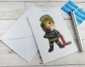 Firefighter Fireman Card Greetings Hamster Cute Animal Humour Funny Blank Stationery