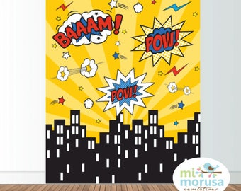 Superheroe backdrop, comic, city skyline, instant download
