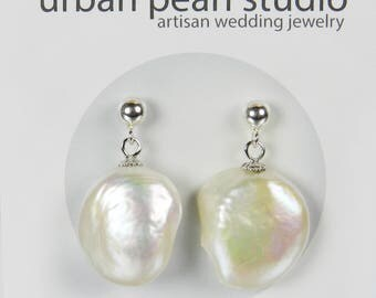Baroque Pearl Earrings Coin Pearl Earrings Simple Pearl Drop Earrings Flat Pearl Post Earrings