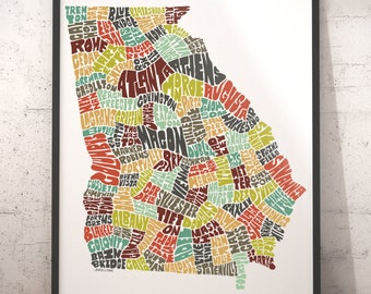 Georgia Map Etsy - Map if georgia