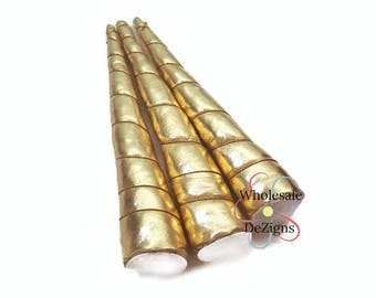 "Gold Unicorn Horn Metallic Large Padded Horns Wrapped with Gold Thread Appliques DIY Party Supplies Birthday Costume Supply 8"" - 1 Horn"