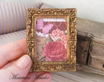 Miniature Dollhouse Framed Painting - Butterfly And Roses