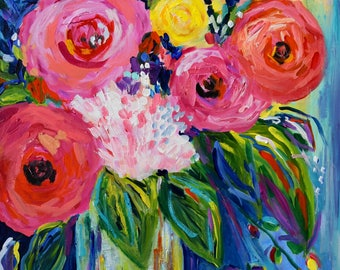 Abstract Flowers, Bold Colorful flowers, Cobalt blue, floral still life, Large Abstract Print on Paper, Giclee Print by Carolyn Shultz