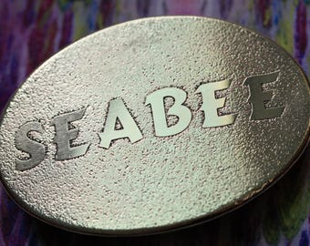 Seabee Belt Buckle - Etched Brass