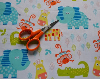 Jungle Fabric, Elephants, Alligators, Giraffe, Monkeys/Children's Material/Quilting, Clothing, Craft/Fat Quarter, By The Yard, Yardage