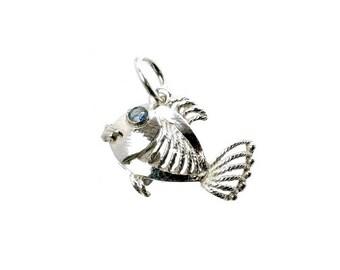Sterling Silver Sapphire Set Filigree Fish Charm For Bracelets