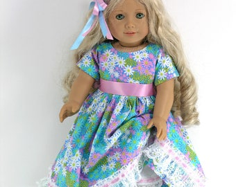Handmade 18 inch Doll Clothes for American Girl - Dress, Pantalettes, Hair Ribbons - Pastel Floral - Shoes, Socks Option