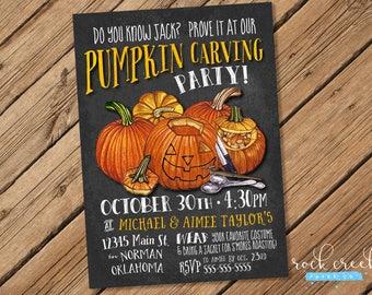 Pumpkin Carving Invitation, Pumpkin Invitation, Halloween Invitation, Halloween Party Invitation,  Printable Event Invitation