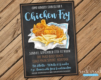 Chicken Fry Invitation, Chalkboard Chicken Fry, Fried Chicken Party, Rustic Chicken Dinner Party, Printable Party Invitation