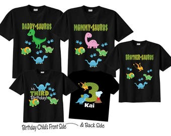 3rd Birthday Shirts with Dinosaurs Family Birthday Shirts with Dinosaurs on BLACK Shirts 5 shirt Family Set