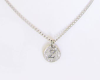 Antique silver charm Z jewelry necklace, back to school z initial coin choker, meaningful best friend letter jewelry necklace gift for her