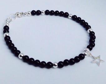Black Onyx Bracelet, Onyx Bracelet, black bracelet,, black and silver bracelet, Stacking Bracelet