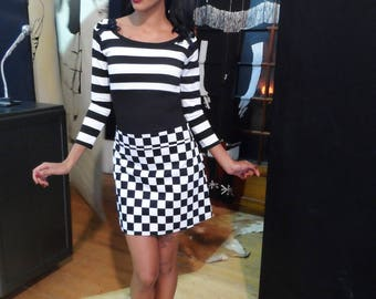 Striped 3/4 sleeves top Gothic romantic pinup