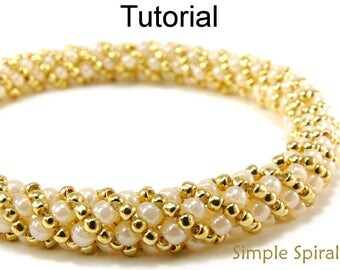 Easy Beginner Beading Pattern - Jewelry Making Russian Spiral Stitch Tutorials - Beaded Bracelets Necklaces - Simple Spiral #4956