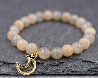 Genuine moonstone bracelet Moonstone jewelry Crescent moon bracelet June birthstone bracelet Healing crystal bracelet Women yoga bracelet