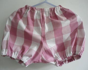 bloomers in cotton Plaid pink and white 6/12 months