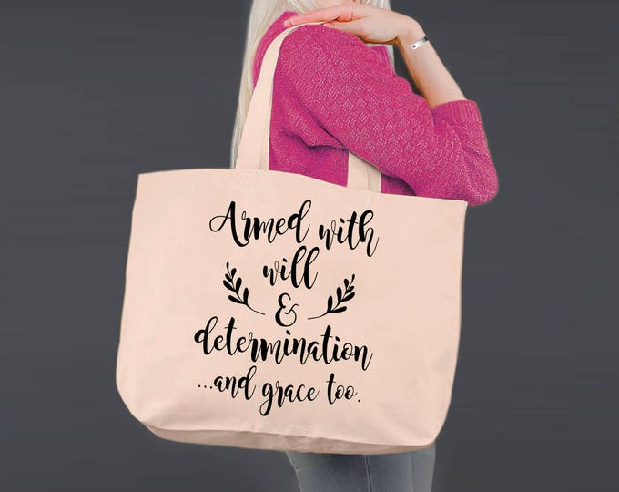 Armed with Grace | Christian Gifts | Tote Bag | Canvas Tote Bag | Beach Tote | Canvas Tote | Shopping Tote | Shopping Bag | Korena Loves