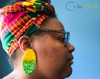 Lemon Lime Mosaic Post Earrings by Curlitude