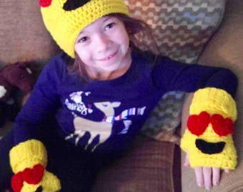 Emoji hat and fingerless gloves