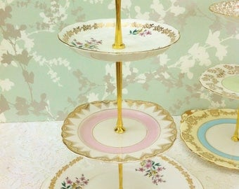 Pink Floral  3 Tier Cake Stand