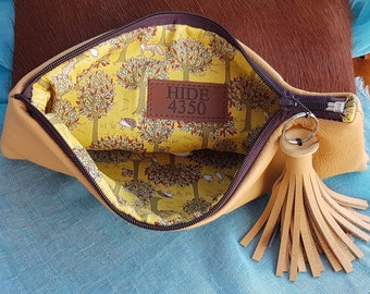 HEREFORD cowhide clutch with mustard Australian leather and Japanese naive print lining...handmade on farm by HIDE4350.