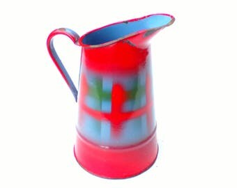 Antique French enamelware  pitcher red and bue art deco  patten  jug pitcher pot