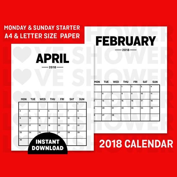 2018 Calendar Printable Files A4 Letter Size Paper
