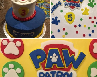 Paw Patrol  Inspired Fondant cake topper - badge and age