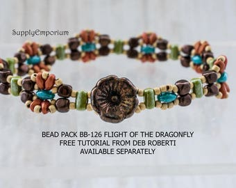Bead Pack BB-126 Flight of the Dragonfly Bracelet, Free Tutorial by Deborah Roberti Available Separately, BB126 Flight of Dragonfly