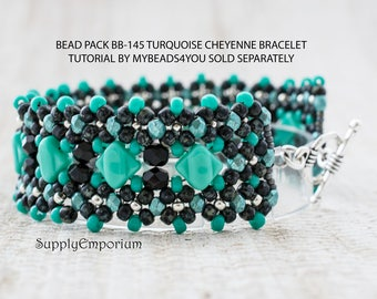 Bead Pack BB145 for Turquoise Cheyenne Bracelet, Tutorial by MyBeads4You Sold Separately, BB-145 Turquoise Cheyenne Bracelet