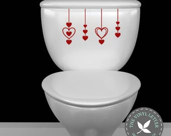 Heart Valentines Day Toilet Vinyl Decal Sticker