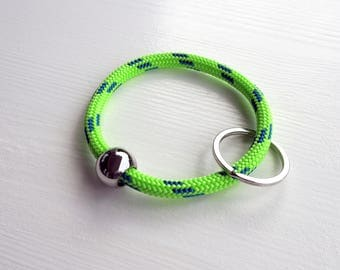 keychain or key bangle from bright sailing rope, green with blue stripes, metal bead, metal key ring