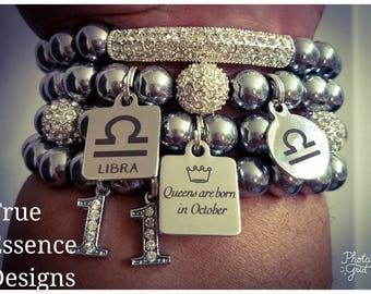 Libra Zodiac Bracelet made w/ Hematite (4) Bracelets