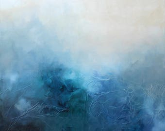 """Large Very Big Original Fine Art Painting """"BLUE BLISS"""" Expressive Wall Home Art Interior Decor Mixed Media Home Office Textured Canvas Grey"""