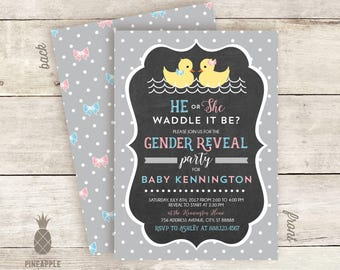 Waddle It Be? Duck Baby Gender Reveal Invitations - Colors Used: Light Gray, Baby Blue and Baby Pink