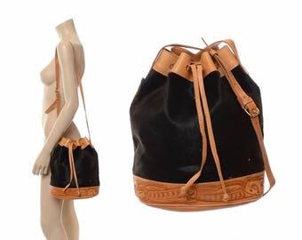 Vintage 80s Tooled Leather and Calf Hair Drawstring Bucket Bag 1980s Distressed Pony Fur Hippie Purse Boho Handbag Gypsy Shoulder Tote