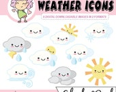 Kawaii Weather Digital Clipart, downloadable weather icons, digital planning, for use with Goodnotes and digital planning or crafting