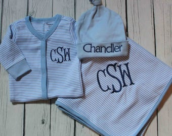 3 piece Baby Boy Monogrammed Romper, Blanket, & Knot Hat Set; Personalized Coming Home Outfit; Striped Romper