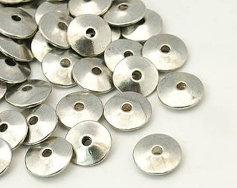 Tibetan silver disc spacer beads,  antique silver, 1.5mm hole, 12 pieces