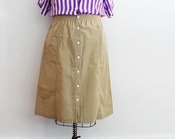 Plus Size - Vintage Khaki Faux Button Front A-Line Skirt (Size 14)