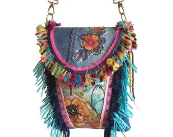Ibiza crossbody flower patch, colored handbag hippie style, fringed bag bohemian, handmade shoulder bag one of a kind, unique gift woman