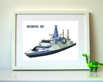 Sea Print, Navy Ship Wall Art, Destroyer Print for Boys Wall Art Print, Nautical Prints, INSTANT DOWNLOAD, Printable Ship Print Poster