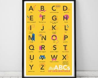 The Simpsons Alphabet Print | 11x17 | ABCs of Springfield Unframed