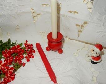 Vintage red Swedish  candle holder