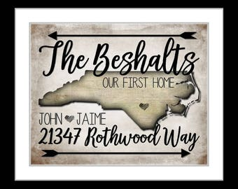 Our first home, housewarming gift, personalized address sign, ANY state wall art, realtor gifts real estate agent gifts new homeowner gifts