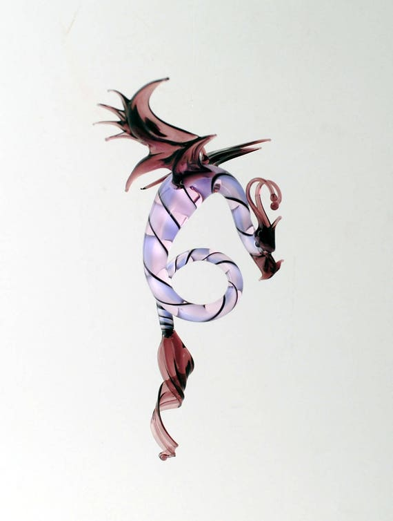 e36-998 Dragon with long, curved spiral tail - Purple